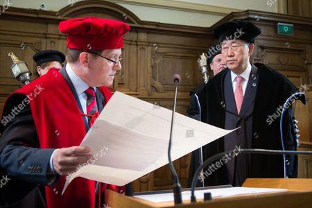 The university KU Leuven awards an honorary doctorate to United Nations Secretary-General Ban Ki-moon - Rik Torfs, Ban Ki-moon