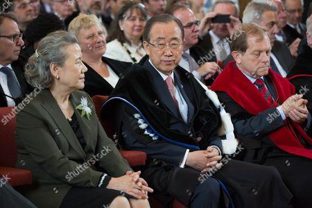 The university KU Leuven awards an honorary doctorate to United Nations Secretary-General Ban Ki-moon - Yoo Soon-taek, Ban Ki-moon, Rik Torfs