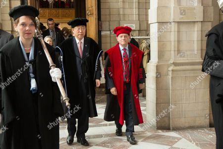The university KU Leuven awards an honorary doctorate to United Nations Secretary-General Ban Ki-moon - Ban Ki-moon, Rik Torfs