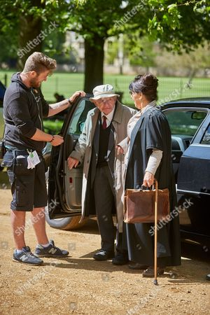 Author Colin Dexter arriving on the set