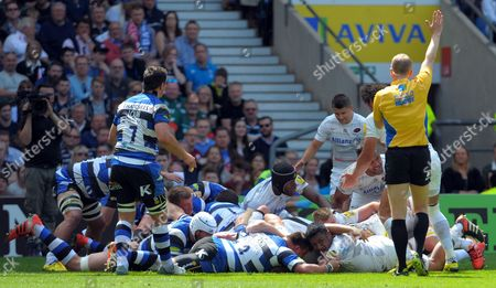 Bath's Prop forward David Wilson is penalised by Referee: Wayne Barnes for collapsing the scrum - Rugby Union - Aviva Premiership Final - Bath Rugby V Saracens 30/05/15 - at Twickenham Stadium London UK.  Photo Credit - Tom Dwyer/Seconds Left Images.