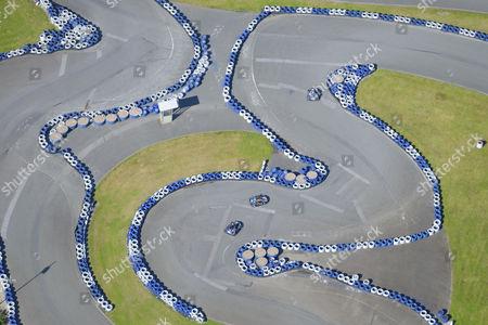 Ralf Schumacher go-kart track, aerial view, Bispingen, Lower Saxony, Germany
