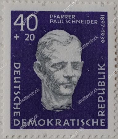 Paul Schneider, a Protestant pastor, portrait on a stamp, GDR, 1957