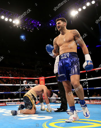 Nathan Cleverly (R) after wining his fight against Tomas Man in 1st round for the Light-Heavyweight Contest