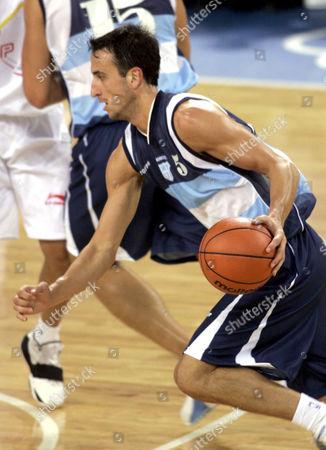 Argentinian basketball player Emanuel David Ginobili during match against Spain