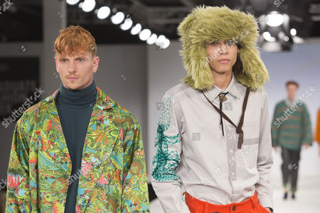Stock Image of Models on the catwalk wearing the menswear collection of graduate student Danielle Perry