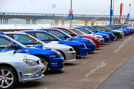 Subaru vehicles on display Boscombe Seafront Editorial Stock