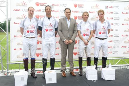 Prince William, John Paul Clarkin, Mark Tomlinson and Prince Harry (Audi Ultra Team) with Andre Konsbruck