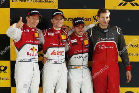 Motorsports: DTM race Lausitzring, #5 Mattias Ekstroem (SWE, Audi Sport Team Abt Sportsline, Audi RS 5 DTM) #53 Jamie Green (GBR, Audi Sport Team Rosberg, Audi RS 5 DTM) #17 Miguel Molina (ESP, Audi Sport Team Abt Sportsline, Audi RS 5 DTM)