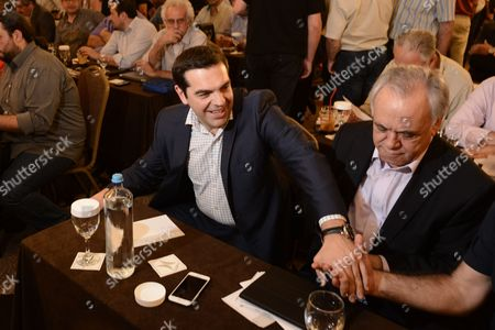 Prime Minister Alexis Tsipras and Deputy PM Giannis Dragasakis at the meeting of the Central Committee of Syriza in Athens, Greece