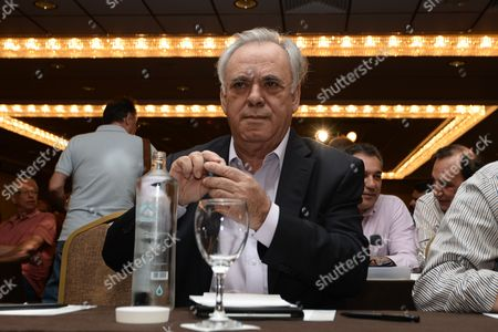 Deputy PM Giannis Dragasakis at the meeting of the Central Committee of Syriza in Athens, Greece