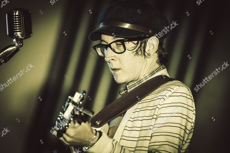 Stock Photo of The american singer Micah P. Hinson performs at the Evangelic Methodist Church in Rome, Italy.
