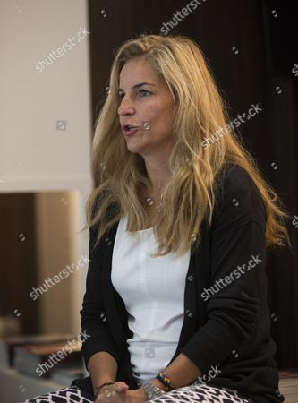 Arantxa Sanchez Vicario gives a press conference after the annoncement that she is becoming an ambassador for the WTA Finals in Singapore at Roland Garros 2015