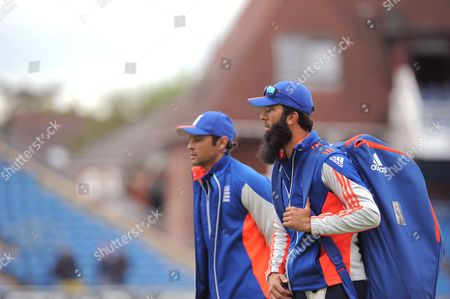 Moeen Ali of England with coach Mark Ramprakash