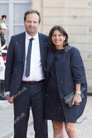 Mayor of Paris Anne Hidalgo (R) and Politician Jean-Marc Germain