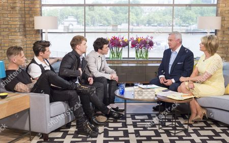 Rixton - Jake Roche, Danny Wilkin, Charley Bagnall and Lewi Morgan. with Eamonn Holmes and Ruth Langsford