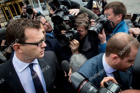 Andy Coulson leaves after the trial