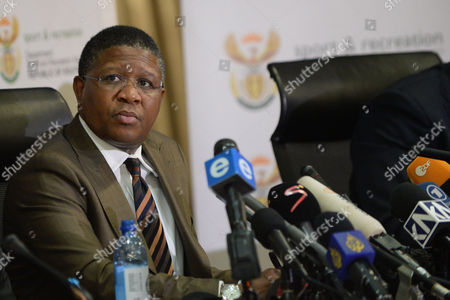 Minister of Sport Fikile Mbalula at SAFA House Conference Centre