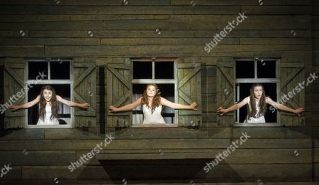 Charlotte Harwood as Tzeitel, Molly Lynch as Chava, Katie Hall as Hodel