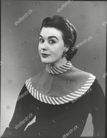 Jane Lee Fashion Model Wearing A New 'high' Necked Woollen Sweater. Box 0572 290515 00325a.jpg.