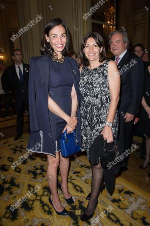 Ines Sastre and Anne Hidalgo during a reception at the residence of the Spanish Ambassador to France