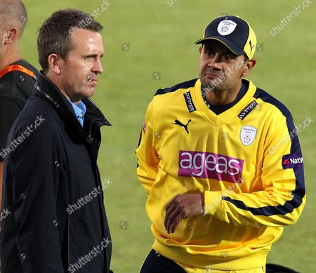 Stock Photo of Hampshire's Owais Shah chats with Sky Sports Presenter and former England player Dominic Cork