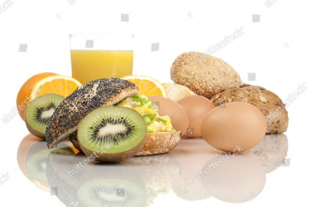 Bread, eggs, juice and fruit