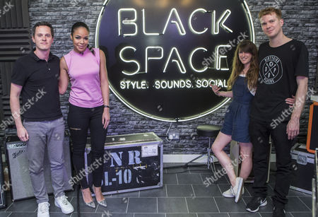 Nick Stevenson from Mixmag, Radio 1Xtra DJ Sarah-Jane Crawford, Juliet Cromwell and Duncan Dick from Mixmag at Lynx Black Space in Shoreditch, at one of a series of talks happening at the venue.