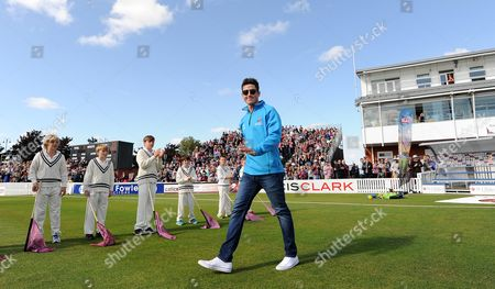 Somerset's Craig Kieswetter leads the teams out having announced his retirement due to a serious eye injury.