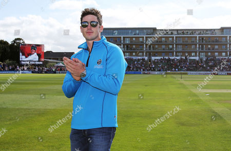 Stock Photo of After announcing his retirement today Craig Kieswetter thanks the crowd.