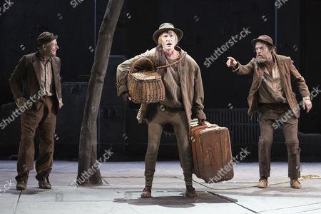 Richard Roxburgh as Estragon, Luke Mulllins as Lucky and Hugo Weaving as Vladimir