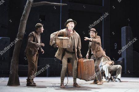 Richard Roxburgh as Estragon, Luke Mulllins as Lucky, Hugo Weaving as Vladimir and Philip Quast as Pozzo