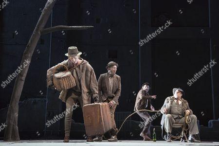 Luke Mullins as Lucky, Richard Roxburgh as Estragon, Hugo Weaving as Vladimir and Philip Quast as Pozzo
