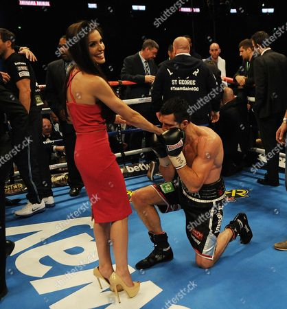 Carl Froch 'proposes' To Partner Rachael Cordingley After The Bout. Boxing Wembley London. Carl Froch V George Groves Ibf & Wba World Super Middleweight Championship.