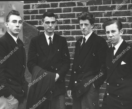 Editorial picture of The Four Young Merchant Navy Cadets Who Chased An Assailant For Half A Mile In East London And Held Him Until The Police Arrived Were Praised Today By The Court. L-r: Roger Starr Michael Ray J. G. Bean And Roger Harvey. (for Full Caption See Version)