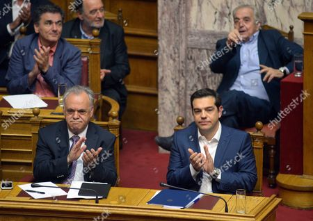 Deputy Prime Minister Yannis Dragasakis and Prime Minister Alexis Tsipras