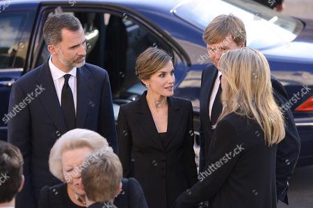 King Felipe VI, Queen Letizia, King Willem-Alexander, Queen Maxima, Princess Beatrix, Princess Laurentien, King Simeon II, Queen Margarita and Miriam Ungria and sons