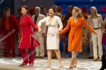 Jo Napthine (Rosie), Dianne Pilkington (Donna Sheridan) and Mazz Murray (Tanya) during the curtain call for the cast change of Mamma Mia at the Novello Theatre, London, England on 8th June 2015. (Credit should read: Dan Wooller/wooller.com). Paid use only. No Syndication