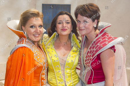 Mazz Murray (Tanya), Dianne Pilkington (Donna Sheridan) and Jo Napthine (Rosie) backstage after the curtain call for the cast change of Mamma Mia at the Novello Theatre, London, England on 8th June 2015. (Credit should read: Dan Wooller/wooller.com). Paid use only. No Syndication