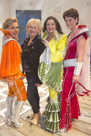 Stock Picture of Mazz Murray (Tanya), Judy Craymer (Producer), Dianne Pilkington (Donna Sheridan) and Jo Napthine (Rosie) backstage after the curtain call for the cast change of Mamma Mia at the Novello Theatre, London, England on 8th June 2015. (Credit should read: Dan Wooller/wooller.com). Paid use only. No Syndication