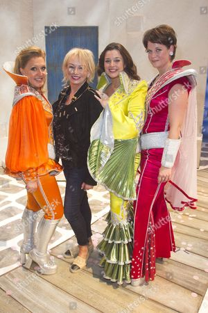 Mazz Murray (Tanya), Judy Craymer (Producer), Dianne Pilkington (Donna Sheridan) and Jo Napthine (Rosie) backstage after the curtain call for the cast change of Mamma Mia at the Novello Theatre, London, England on 8th June 2015. (Credit should read: Dan Wooller/wooller.com). Paid use only. No Syndication