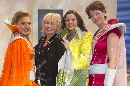 Stock Photo of Mazz Murray (Tanya), Judy Craymer (Producer), Dianne Pilkington (Donna Sheridan) and Jo Napthine (Rosie) backstage after the curtain call for the cast change of Mamma Mia at the Novello Theatre, London, England on 8th June 2015. (Credit should read: Dan Wooller/wooller.com). Paid use only. No Syndication