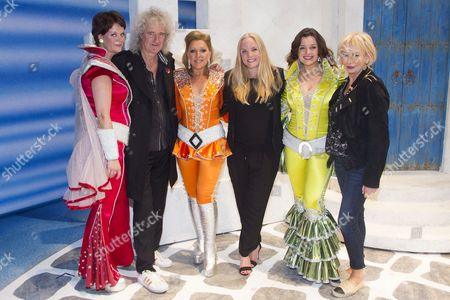 Jo Napthine (Rosie), Brian May, Mazz Murray (Tanya), Kerry Ellis, Dianne Pilkington (Donna Sheridan) and Judy Craymer (Producer) backstage after the curtain call for the cast change of Mamma Mia at the Novello Theatre, London, England on 8th June 2015. (Credit should read: Dan Wooller/wooller.com). Paid use only. No Syndication