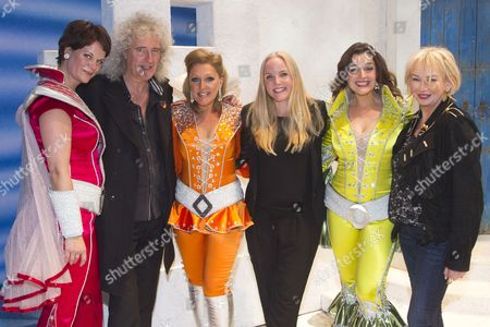 Stock Image of Jo Napthine (Rosie), Brian May, Mazz Murray (Tanya), Kerry Ellis, Dianne Pilkington (Donna Sheridan) and Judy Craymer (Producer) backstage after the curtain call for the cast change of Mamma Mia at the Novello Theatre, London, England on 8th June 2015. (Credit should read: Dan Wooller/wooller.com). Paid use only. No Syndication