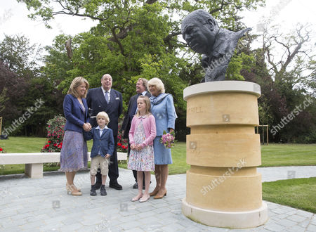Camilla Duchess of Cornwall opens the new Churchill Memorial Garden and unveils a bust of Sir Winston Churchill at Blenheim Palace, his birth place and ancestral home, joined by Sir Nicholas Soames, The Duke of Marlborogh, Her Grace The Duke of Marlborough (Elda) and children Lady Araminta and Lord Casper.