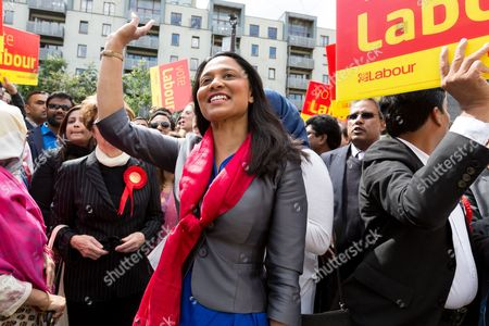 Rushanara Ali at a Labour Party rally for Tower Hamlets Mayoral candidate, John Biggs in Altab Ali Park in Tower Hamlets, east London.
