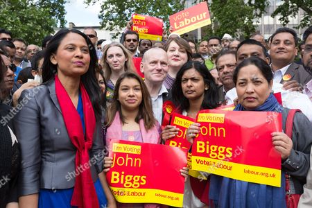 John Biggs (centre) with MPs: Rushanara Ali, Tulip Siddiq and Rupa Huq at a Labour Party rally for Tower Hamlets Mayoral candidate, John Biggs in Altab Ali Park in Tower Hamlets, east London.