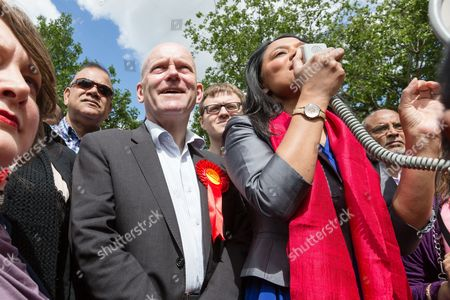 John Biggs with Rushanara Ali at a Labour Party rally for Tower Hamlets Mayoral candidate, John Biggs in Altab Ali Park in Tower Hamlets, east London.