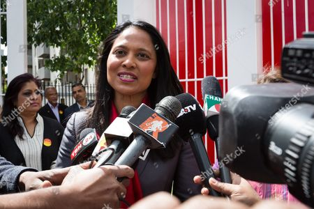 Rushanara Ali speaking to the Bengali media at a Labour Party rally for Tower Hamlets Mayoral candidate, John Biggs in Altab Ali Park in Tower Hamlets, east London.