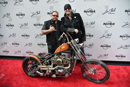 Stock Picture of Shannon Aikau and Danny Koker with the 100th Anniversary Les Paul custom motorcycle by Count 77